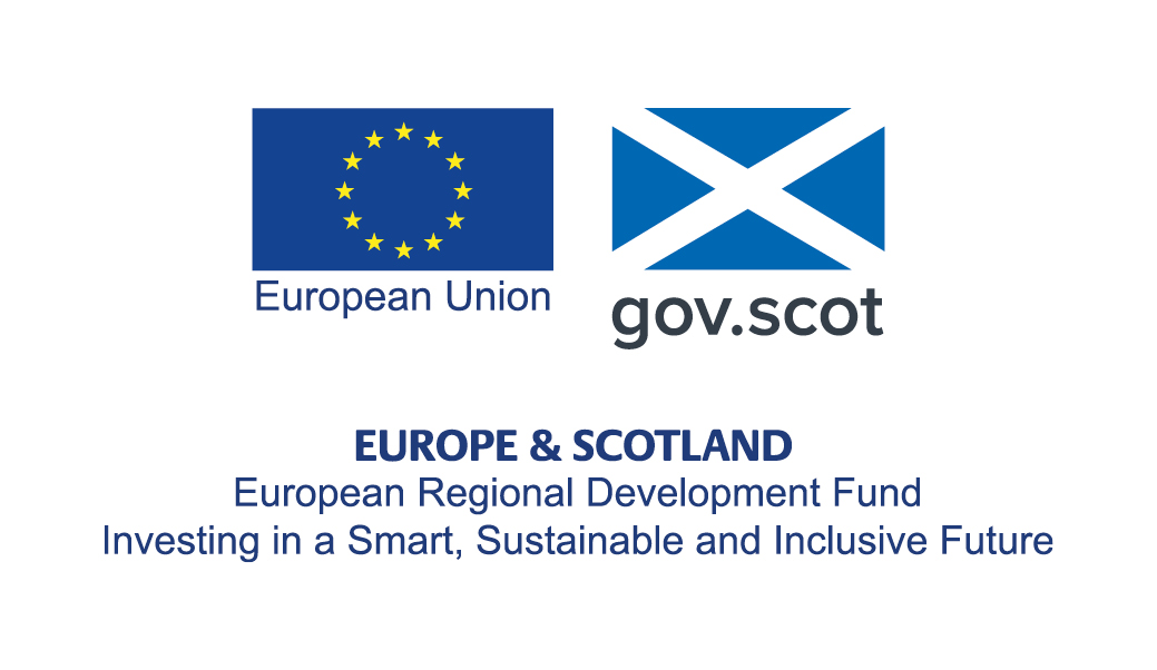 European Regional Development Fund - Europe and Scotland - Investing in a Smart, Sustainable and Inclusive Future